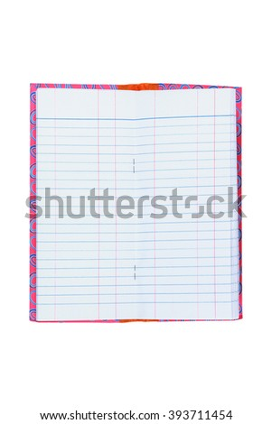 It is One open notebook isolated on white. - stock photo