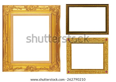 It is Three golden frames isolated on white. - stock photo