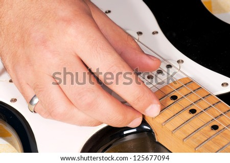 It is time for the guitar playing - stock photo