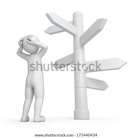 it is too much ways, 3d human and directions signs - stock photo