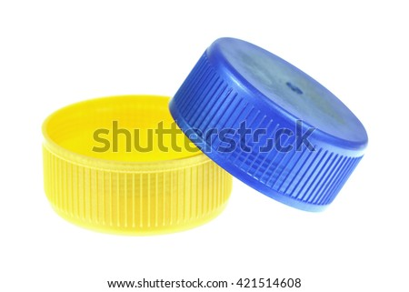 It is Two plastic lids isolated on white. - stock photo
