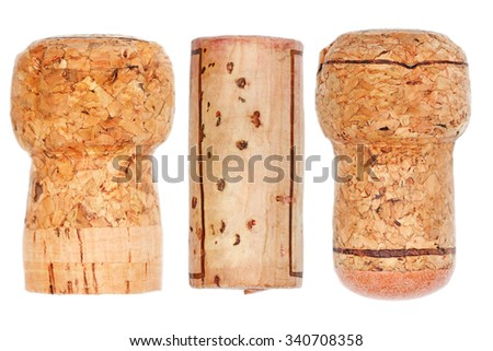 It is Wooden cork,champagne,wine,prosecco isolated on white. - stock photo