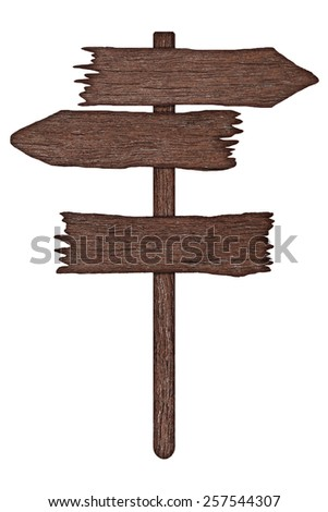 It is Wooden sign board isolated on white.