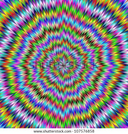 It Moves/Digital abstract image with an explosion of blue red yellow green and purple producing an optical illusion of movement. - stock photo