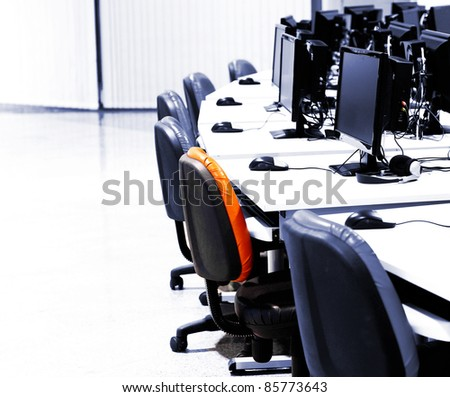 IT room with computers in row
