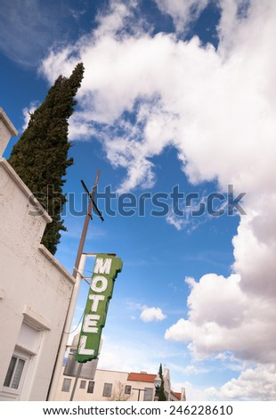 It's a clear blue sky day on main street in this one motel town - stock photo