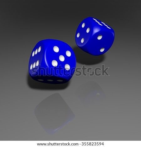 It's a 3D render of 2 Rolling Blue Dice with high resolution. - stock photo
