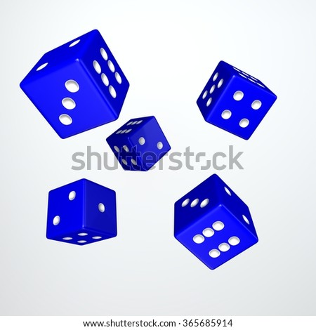 It's a 3D render of 5 Rolling Blue Dice with high resolution. - stock photo