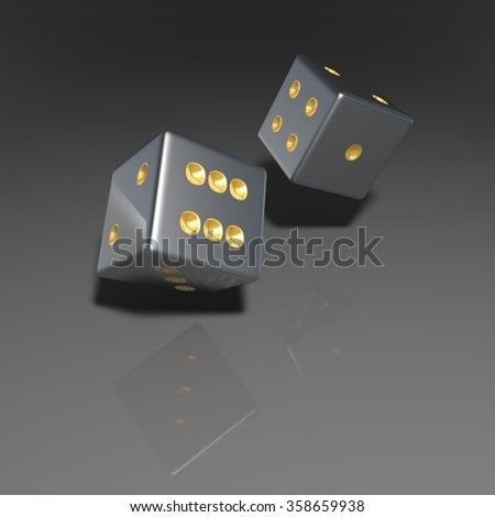 It's a 3D render of 2 Rolling Silver Dice with high resolution.