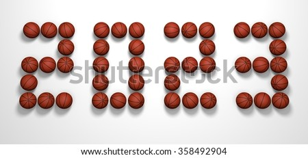 It's a 3D render of 2023 Year from Basketball Balls on white background with high resolution.