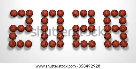It's a 3D render of 2028 Year from Basketball Balls on white background with high resolution.
