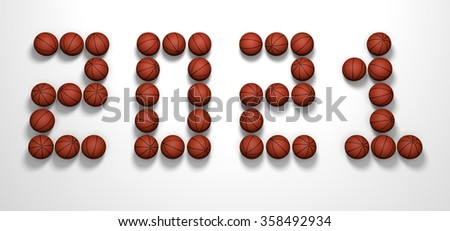 It's a 3D render of 2021 Year from Basketball Balls on white background with high resolution.