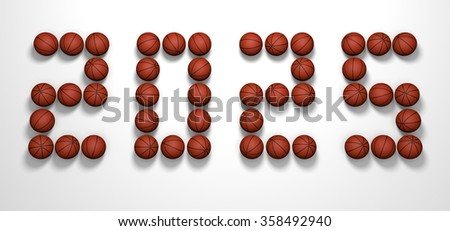 It's a 3D render of 2025 Year from Basketball Balls on white background with high resolution.