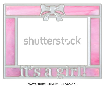 It's a Girl Metal and Pink Stained Glass Picture Frame - stock photo