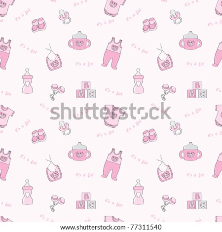 It's a girl - pink seamless background with baby elements - raster version of vector ID 76405762 - stock photo