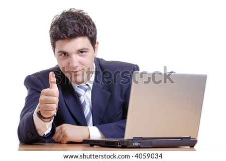It's all good-Businessman working on a computer with his thumb up