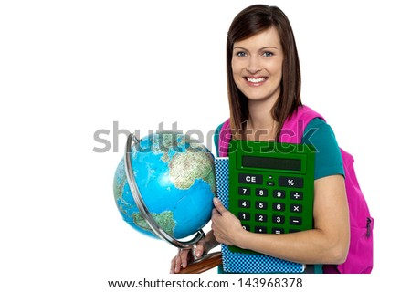 It's college time. I am ready to attend the class. - stock photo