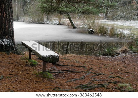 it's not the season...snow covered bench, frozen forest lake - stock photo
