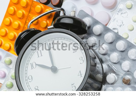 It's time to take pills! Medicine and clock