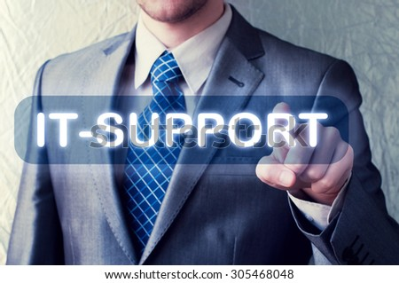 IT- support button on virtual screen - stock photo
