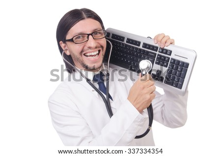 IT technician in security concept - stock photo