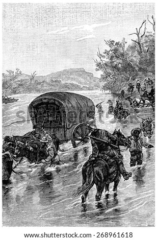 It was necessary to find a ford crossing, vintage engraved illustration.  - stock photo