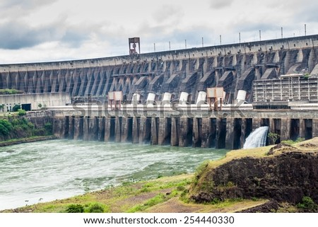 Itaipu dam on river Parana on the border of Brazil and Paraguay - stock photo