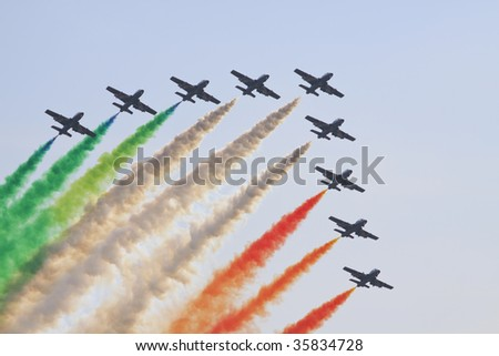 Italian aerobatics group, in MAKS 2009, Moscow - stock photo
