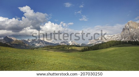 Italian Alps, beautiful and famous Dolomite in Spring./Dolomite Italy/ - stock photo