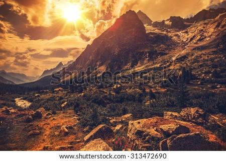 Italian Alps Scenery. Northern Italy Mountain Landscape.  - stock photo