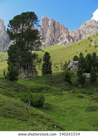Italian Alps, South Tirol, Dolomites, Groedner Valley, Val Gardena, View to the Geisler peaks