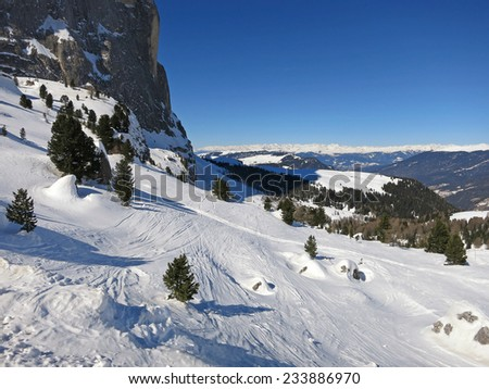 Italian Alps, South Tirol, Dolomites, winter in the dolomites (Sella and Langkofel)