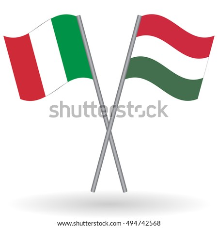 Italian and Hungarian flags Italian flag, Italy flag, flag of Italy. Hungarian flag, Hungary flag, flag of Hungary. Italy vs Hungary. Flags of world, flags of nations, football flag, flags isolated