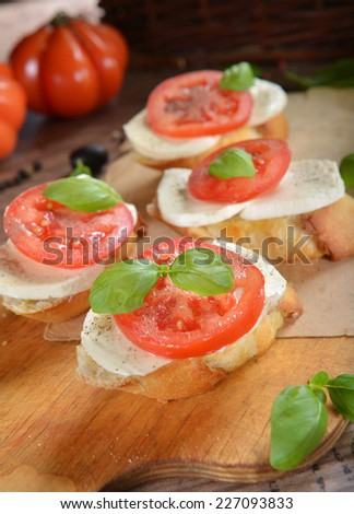Italian Appetizer Bruschetta with Caprese Salad