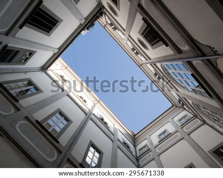 Italian architecture, square detail. Pontremoli,in Lunigiana, north Tuscany, Italy. - stock photo