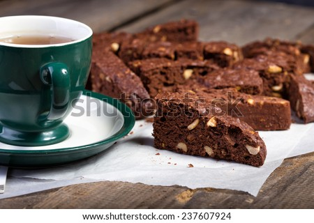 Italian biscotti cookies and tea on the table  - stock photo