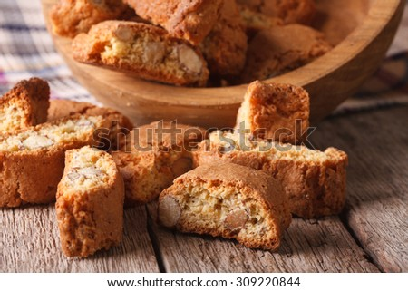 Italian biscotti delicious cookies with almond close up on the table. horizontal - stock photo