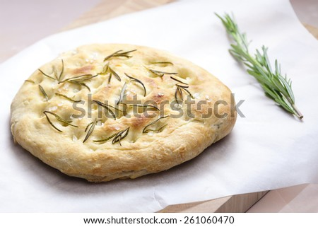 Italian bread focaccia with rosemary - stock photo
