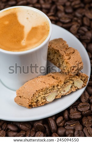 Italian break, fresh espresso coffee with cantuccini cakes - stock photo