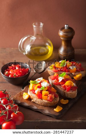 Italian bruschetta with tomatoes garlic olive oil