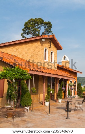 Italian building style with blue sky  - stock photo