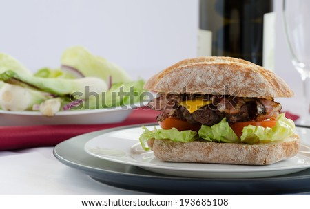 Italian burger homemade  - stock photo