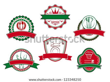 Italian cafe banners and labels for restaurant design, such a logo template. Vector version also available in gallery - stock photo
