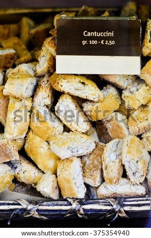 Italian Cantuccini for sale in an Italian pastry shop