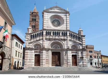 Italian cathedral in Grosseto, Tuscany, Italy  - stock photo