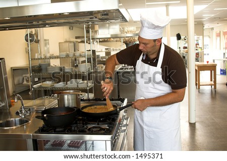 Italian checking stirring in his pasta sauce