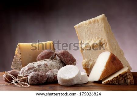 italian cheese and salami - stock photo