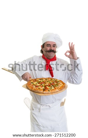 Italian Chef holding a pizza on a peel showing his approval