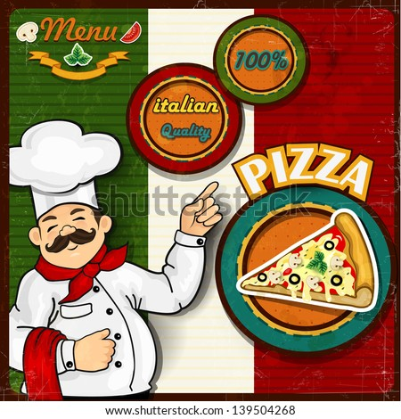 Italian chef  pizza  cartoon comic menu