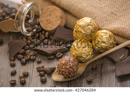 Italian chocolate sweets with decoration